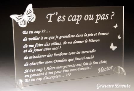 Es-tu cap d'être Parrain / Marraine (réf Papillon) - Cadeau personnalise personnalisable - 1