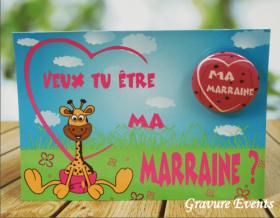 Carte postale Badge - Veux tu être ma Marraine (Mod AMr) - Cadeau personnalise personnalisable - 1