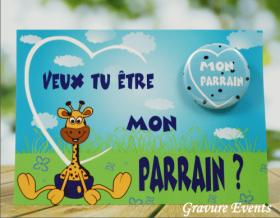 Carte postale Badge - Veux tu être mon Parrain (Mod APr) - Cadeau personnalise personnalisable - 1