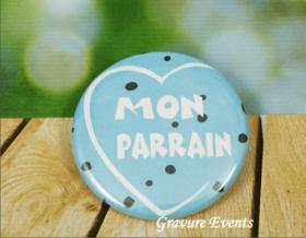 Carte postale Badge - Veux tu être mon Parrain (Mod APr) - Cadeau personnalise personnalisable - 2