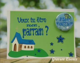 Carte postale Badge - Veux tu être mon Parrain (Mod BPr) - Cadeau personnalise personnalisable - 1
