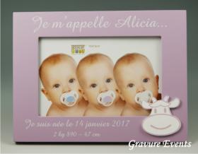 .Cadre Photo Bois - Naissance Couleur Rose - Cadeau personnalise personnalisable - 1