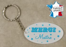 Porte Clef Merci Maître (bac37#3) - Cadeau personnalise personnalisable - 1