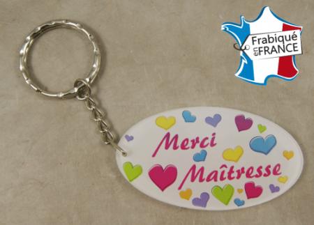 .Porte Clef Merci Maîtresse (bac38#3) - Cadeau personnalise personnalisable - 1