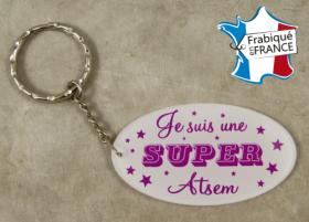 .Porte Clef Je suis une Super ATSEM (bac38#2) - Cadeau personnalise personnalisable - 1