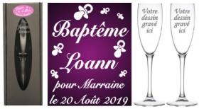 Lot 2 flûtes Parrain Marraine (mod. Envolée de Totottes) - Cadeau personnalise personnalisable - 1