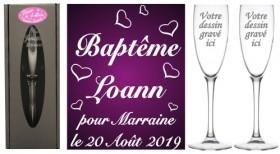 Lot 2 flûtes Parrain Marraine Envolée de Cœurs - Cadeau personnalise personnalisable