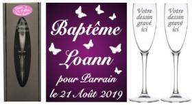 Lot 2 flûtes Parrain Marraine Envolée de Papillons - Cadeau personnalise personnalisable