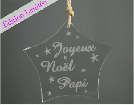 Etoile - Joyeux Noel Papi -VERRE - Cadeau personnalise personnalisable - 1