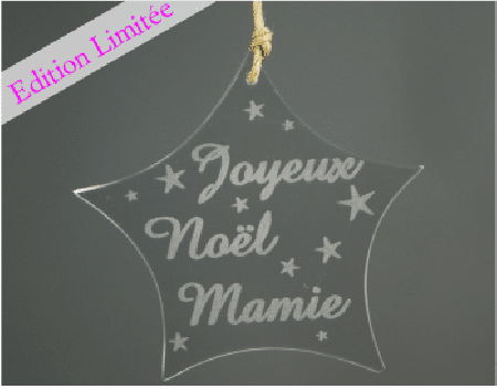 Etoile - Joyeux Noel Mamie -VERRE - Cadeau personnalise personnalisable - 1