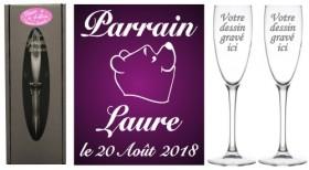 Lot 2 flûtes Parrain Marraine (mod. Ourson) - Cadeau personnalise personnalisable - 1