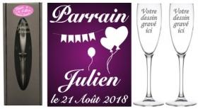 Lot 2 flûtes Parrain Marraine (mod. Champêtre) - Cadeau personnalise personnalisable - 1