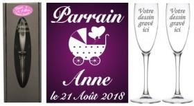 Lot 2 flûtes Parrain Marraine (mod. Landau) - Cadeau personnalise personnalisable