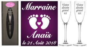 Lot 2 flûtes Parrain Marraine (mod. Petits Pieds) - Cadeau personnalise personnalisable - 1