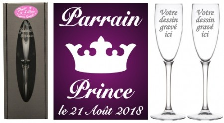 Lot 2 flûtes Parrain Marraine (mod. Petit Prince) - Cadeau personnalise personnalisable - 1