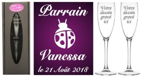 Lot 2 flûtes Parrain Marraine (mod. Coccinelle) - Cadeau personnalise personnalisable - 1