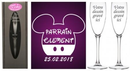 Lot 2 flûtes Parrain Marraine (mod. Mouse Garçon) - Cadeau personnalise personnalisable - 1
