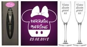 Lot 2 flûtes Parrain Marraine (mod. Mouse Fille) - Cadeau personnalise personnalisable - 1